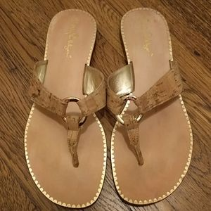 Lilly Pulitzer cork thong sandals